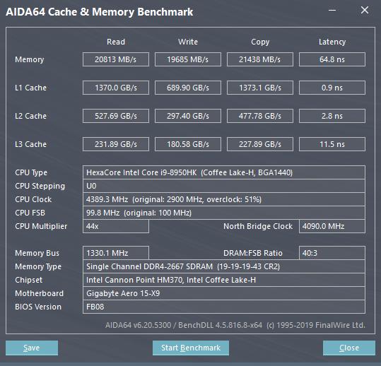 GIGABYTE AERO 15 X9 AI智慧筆電-快取記憶體與記憶體效能測試