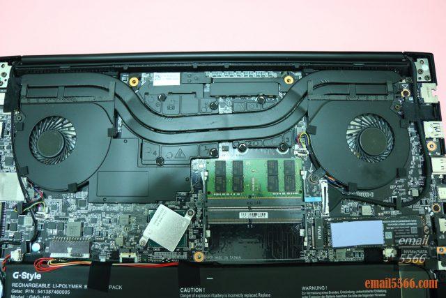 GIGABYTE AERO 15 X9 AI智慧筆電-機身內部 左側GPU 右側CPU