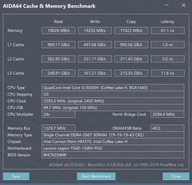 聯想 Legion Y540 電競筆電-GTX 1650+I5H+144Hz 窮人專用機 26888-快取記憶體與記憶體效能測試 legion y540 聯想 Legion Y540 電競筆電-GTX 1650+I5H+144Hz 窮人專用機 26888 Lenovo Legion Y540 Gaming Laptop Cache and Memory Performance Test 640x616