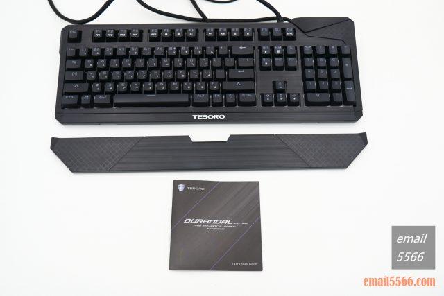 TESORO 鐵修羅 杜蘭朵劍 幻彩版 機械鍵盤-配件方面有鍵盤、鍵盤塑料防塵蓋、手托、說明書