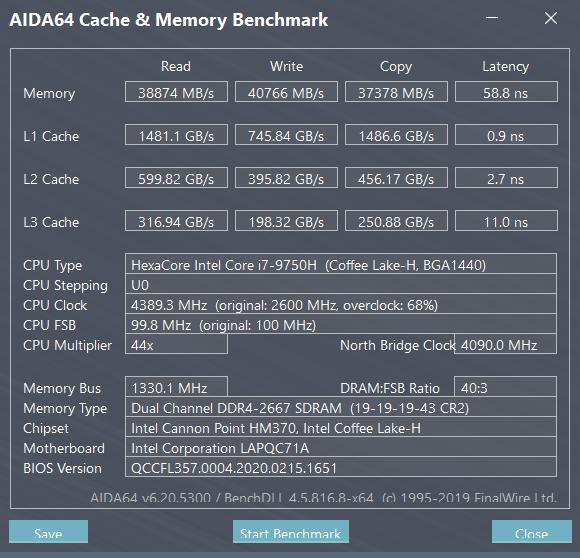 XPG XENIA女武神薩尼亞 電競筆電 1660Ti 開箱-快取記憶體與記憶體效能測試