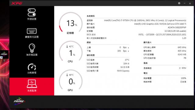 XPG XENIA女武神薩尼亞 電競筆電 1660Ti 開箱-PRIME控制中心 系統監測