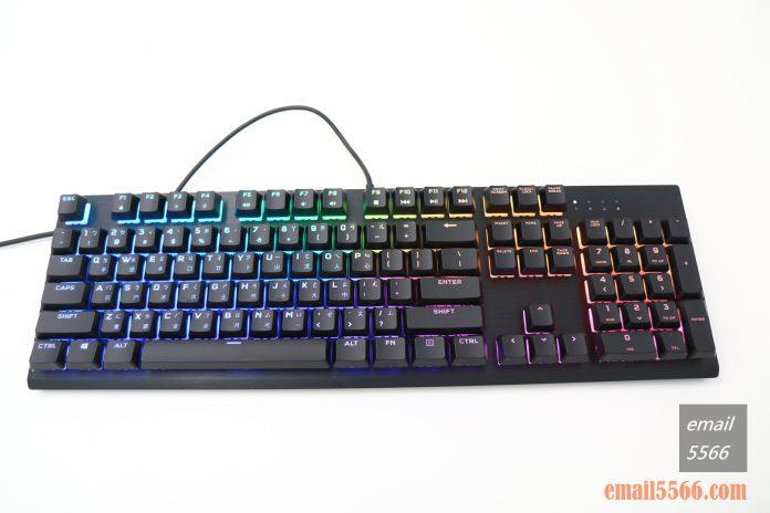 海盜船 CORSAIR K60 RGB PRO機械電競鍵盤 開箱-窄身 RGB CHERRY VIOLA軸-RGB