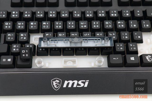 微星 MSI VIGOR GK20 GAMING 鍵盤 開箱-大鍵位上採用平衡桿(鐵絲)設計
