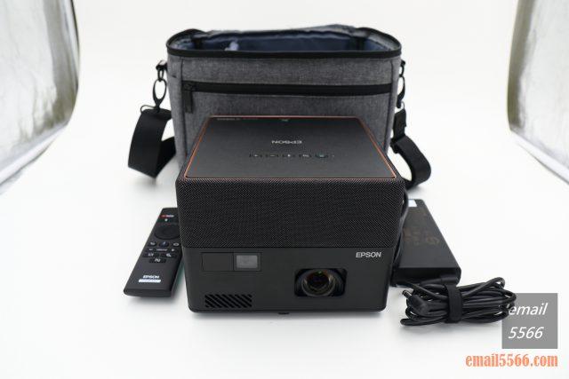 全球最小3LCD 雷射投影機 Epson EF12-天花板前投、無線投影、Android TV、自動對焦/水平垂直梯型修正-投影機本體、遙控器、變壓器電源線