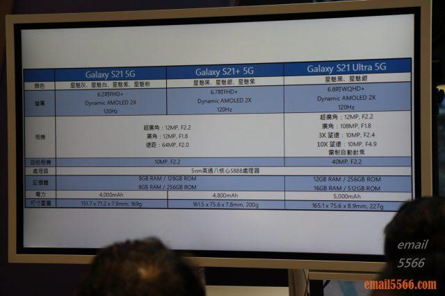2021 Galaxy S21 5G旗艦系列手機體驗會-Pro級攝影、高解析高螢幕更新-各系列規格