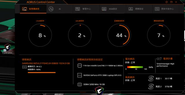 技嘉 AORUS 15P 極速神鷹 電競筆電 開箱-3080顯卡電競、360Hz螢幕更新-AORUS Control Center 應用程式 智慧儀錶板